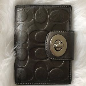 Coach Silver Graphite Leather Wallet Purple Int